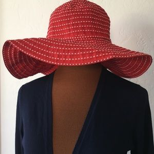 Scala Collezione Red and White Textured Floppy Hat